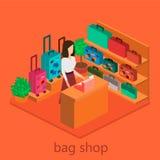 Isometriskt infographic Den plana inre av bagage shoppar Royaltyfria Bilder