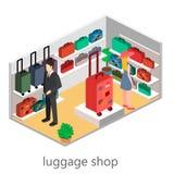 Isometriskt infographic Den plana inre av bagage shoppar Arkivfoto
