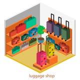 Isometriskt infographic Den plana inre av bagage shoppar Arkivbilder