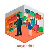 Isometriskt infographic Den plana inre av bagage shoppar Arkivbild