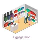 Isometriskt infographic Den plana inre av bagage shoppar Royaltyfri Bild