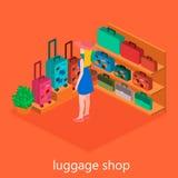 Isometriskt infographic Den plana inre av bagage shoppar Royaltyfri Fotografi