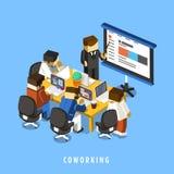 Isometriskt infographic för Coworking begrepp 3d Fotografering för Bildbyråer