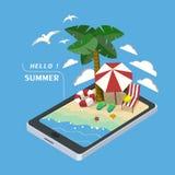 Isometriskt infographic för sommarrekreationbegrepp 3d Royaltyfri Fotografi