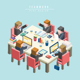 Isometriskt infographic för teamworkbegrepp 3d Arkivbilder