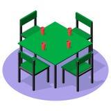 Isometriskt inre möblemang - matställetabell med drinkar och fyra stolar Royaltyfria Foton