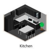 Isometriskt inre modernt kök Fotografering för Bildbyråer