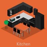 Isometriskt inre modernt kök Royaltyfri Bild