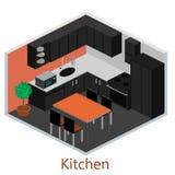 Isometriskt inre modernt kök Arkivbild
