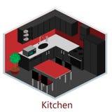 Isometriskt inre modernt kök Arkivfoton