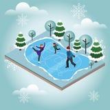 Isometriskt isolerat lyckligt åka skridskor för familj Argt land som åker skridskor, vintersport Olimpic lekar, rekreationlivssti vektor illustrationer