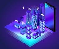 Isometriskt konstverk för Smart City begrepp stock illustrationer