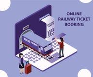 Isometriskt konstverkbegrepp av den online-bokningen för järnväg biljett royaltyfri illustrationer