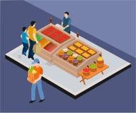 Isometriskt konstverkbegrepp av grönsakförsäljaren som säljer grönsaker royaltyfri illustrationer