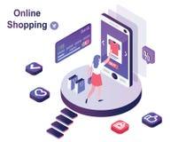 Isometriskt konstverkbegrepp av online-shopping av kläder till och med en mobil plattform och att betala direktanslutet royaltyfri illustrationer