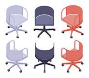 Isometriskt kontor färgade stolar Arkivfoto
