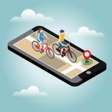 Isometriskt läge Mobil geospårning Kvinnliga och manliga cyklister som rider på en cykel översikt Arkivfoton