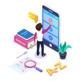 isometriskt lärande begrepp för språk 3d Personen lär utländskt språk via internet, genom att beskåda videopp tutorials på vektor illustrationer