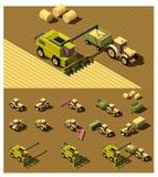 Isometriskt lågt poly jordbruks- maskineri för vektor stock illustrationer