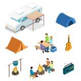 Isometriskt landskap för att campa Plan illustration 3d Royaltyfria Bilder