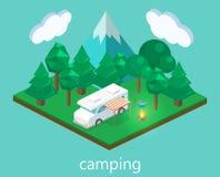 Isometriskt landskap för att campa Plan illustration 3d Arkivfoto
