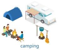 Isometriskt landskap för att campa Plan illustration 3d Royaltyfri Bild
