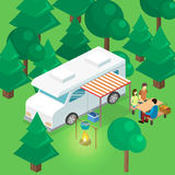 Isometriskt landskap för att campa Plan illustration 3d Arkivfoton