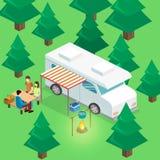 Isometriskt landskap för att campa Plan illustration 3d Fotografering för Bildbyråer