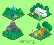 Isometriskt landskap för att campa Plan illustration 3d Royaltyfri Fotografi