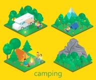 Isometriskt landskap för att campa Plan illustration 3d Royaltyfria Foton
