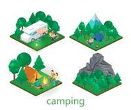 Isometriskt landskap för att campa Plan illustration för vektor 3d Royaltyfri Bild