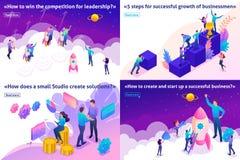Isometriskt ledarskap, lyckad lösning, start stock illustrationer