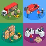 Isometriskt logistik- och leveransbegrepp Leveranshem stock illustrationer