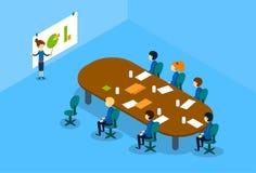 Isometriskt möte för konferens för grupp för affärskvinnaShow Graph Business folk royaltyfri illustrationer