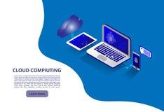 Isometriskt modernt molnteknologi och nätverkandebegrepp Affär för rengöringsdukmolnteknologi Moln som beräknar online-lagring royaltyfri illustrationer