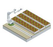 Isometriskt modernt smart industriellt växthus Robotar för konstgjord intelligens i jordbruks- Organisk mat, jordbruk stock illustrationer