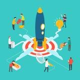 Isometriskt modernt startup begrepp med folk och raket Royaltyfri Foto