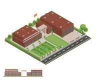 Isometriskt och 3D av det moderna kontoret, skolabyggnad och arkitekten royaltyfria bilder