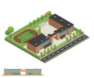 Isometriskt och 3D av det moderna kontoret, skolabyggnad och arkitekten royaltyfri foto