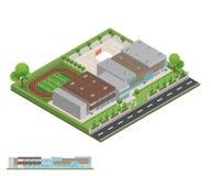 Isometriskt och 3D av det moderna kontoret, skolabyggnad och arkitekten royaltyfria foton