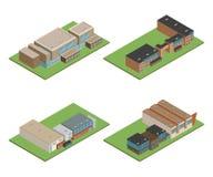 Isometriskt och 3D av det moderna kontoret, skolabyggnad och arkitekten arkivbilder