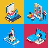 Isometriskt online-arkiv Studentläseböcker på smartphonen som studerar vetenskapsboken och den lästa boken på avläsarvektorn 3d stock illustrationer
