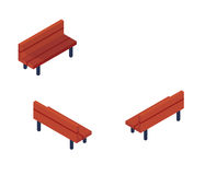 Isometriskt parkera bänkobjekt eller symbolen - beståndsdelen för rengöringsduk, den Tileset översikten, landskapdesignen, stads- stock illustrationer