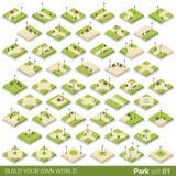 Isometriskt parkera blocket för byggnad för gångbanagatavektorn stock illustrationer