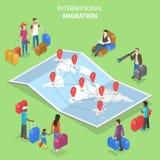 Isometriskt plant vektorbegrepp av internationell flyttning, invandring stock illustrationer