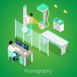 Isometriskt radiologiFluorography tillvägagångssätt med medicinsk utrustning och patienten stock illustrationer