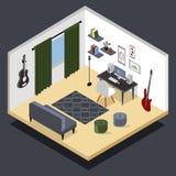 Isometriskt rum för musiker s För musikinspelning för vektor isometrisk hem- studio med släkt utrustning royaltyfri illustrationer