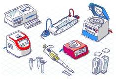 Isometriskt skissa - molekylär biologi - laboratoriumuppsättningen royaltyfri illustrationer