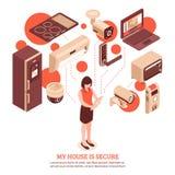Isometriskt Smart hembegrepp Royaltyfri Bild