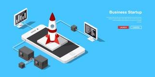 Isometriskt startup begrepp Arkivfoto